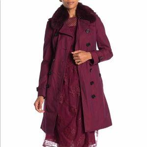 Burberry Sandringham Fox Fur Collar Trench Coat